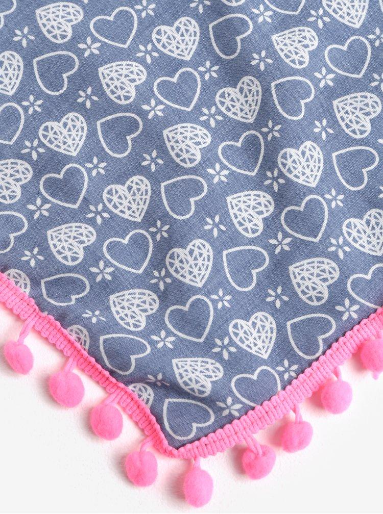 Modrý holčičí šátek s bambulemi a motivem srdcí 5.10.15.