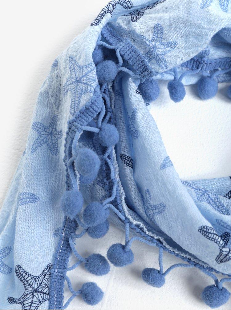 Světle modrý holčičí šátek s motivem mořských hvězdic 5.10.15.