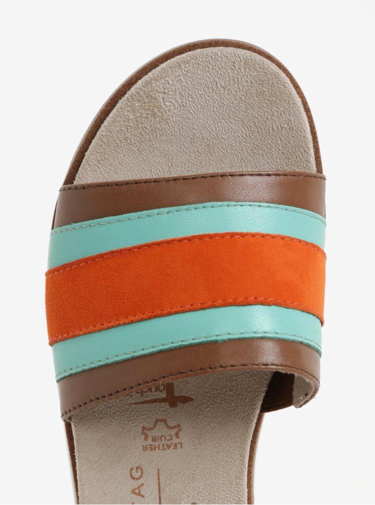 Oranžovo-tyrkysové kožené pruhované pantofle Tamaris