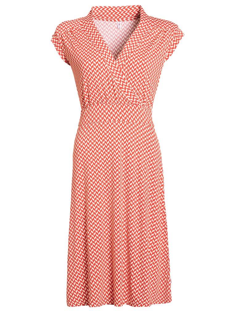 Krémovo-červené vzorované šaty s překládaným výstřihem Blutsgeschwister
