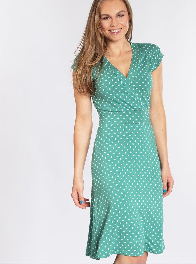 Zelené puntíkované šaty s překládaným výstřihem Blutsgeschwister