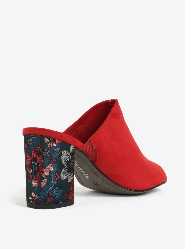 Červené pantofle v semišové úpravě na podpatku Tamaris
