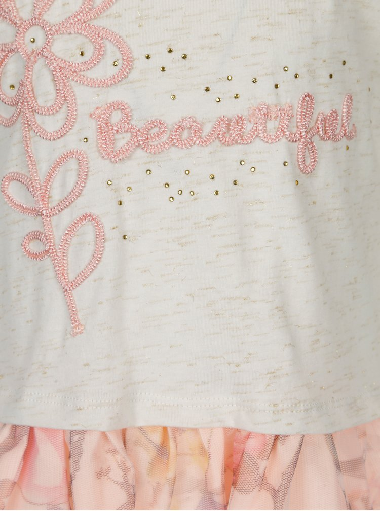 Růžovo-krémové holčičí šaty s výšivkou 5.10.15.