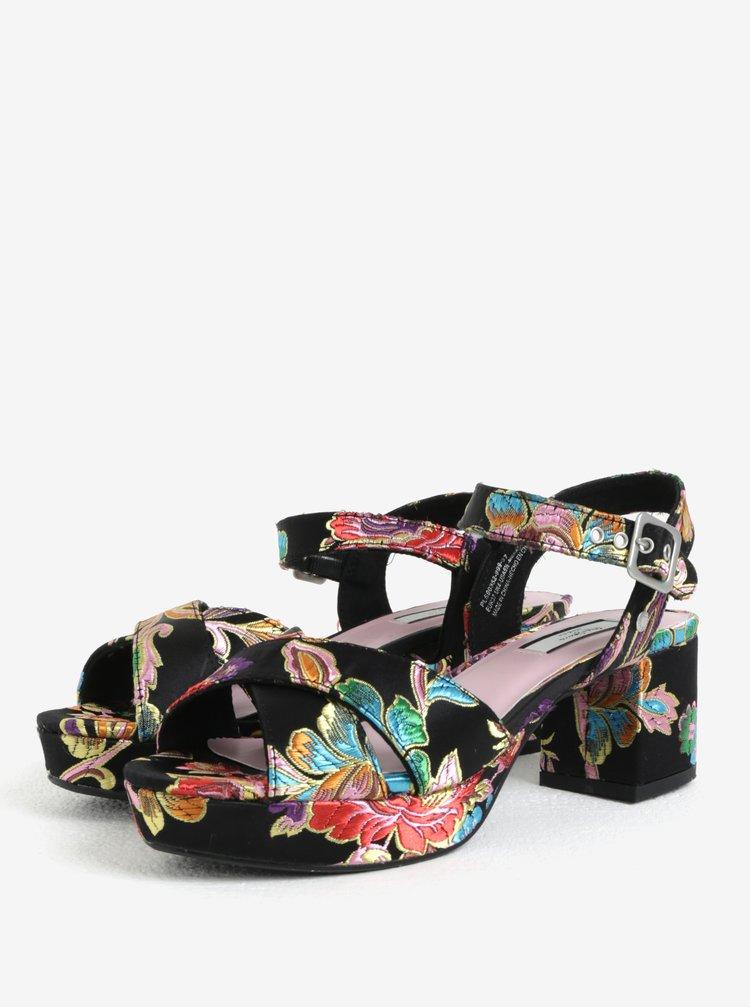 Černé dámské vzorované sandálky na podpatku a platformě Pepe Jeans Hooper Spring
