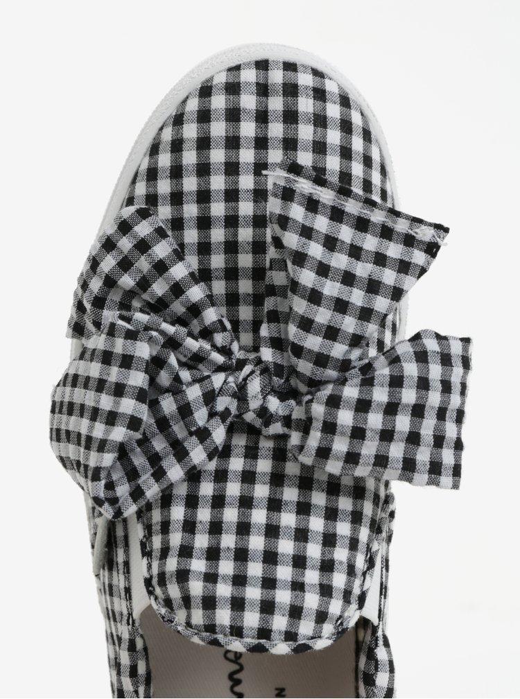 Černo-bílé kostkované dámské slip on Pepe Jeans Rene bow