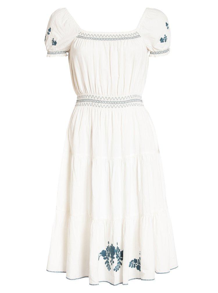 Bílé šaty s květovanou výšivkou Blutsgeschwister