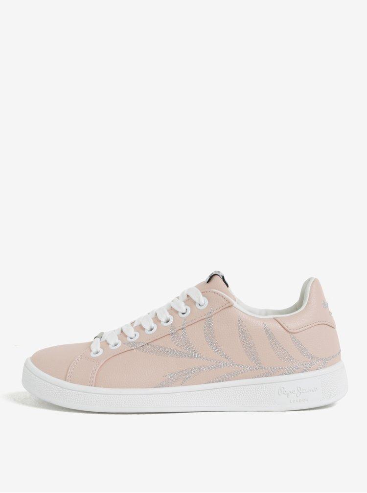 Pantofi sport roz deschis cu broderie pentru femei - Pepe Jeans Brompton Embroidery