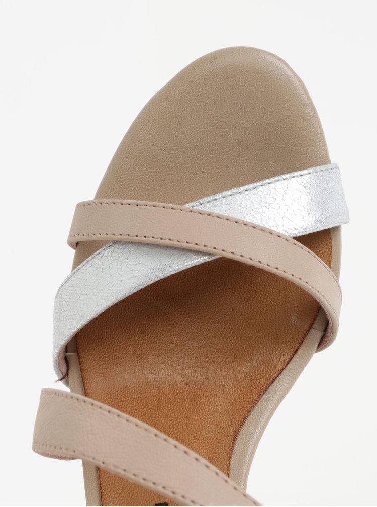 Starorůžové kožené sandálky Tamaris