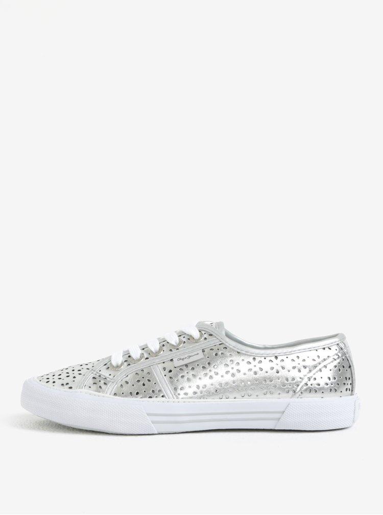 Dámské perforované tenisky ve stříbrné barvě Pepe Jeans Aberlady daisy