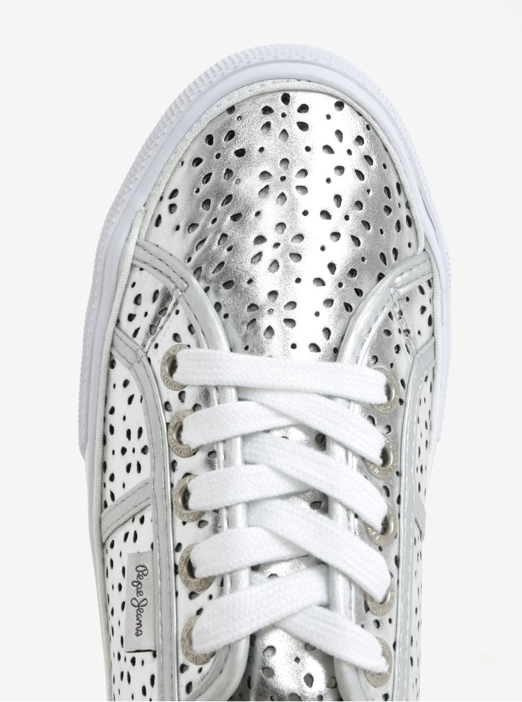 Pantofi sport argintii cu perforatii pentru femei - Pepe Jeans Aberlady daisy