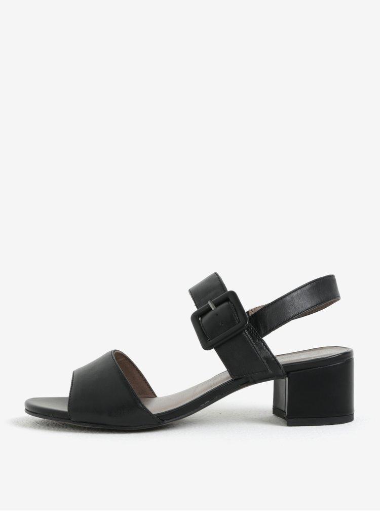 Černé kožené sandálky Tamaris