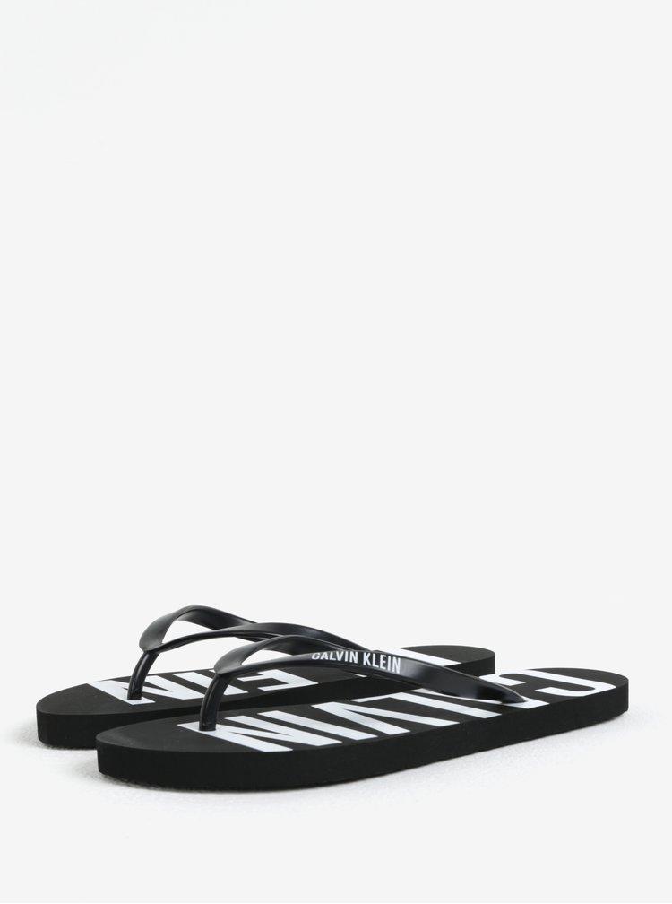 Čierne dámske žabky s potlačou Calvin Klein Underwear