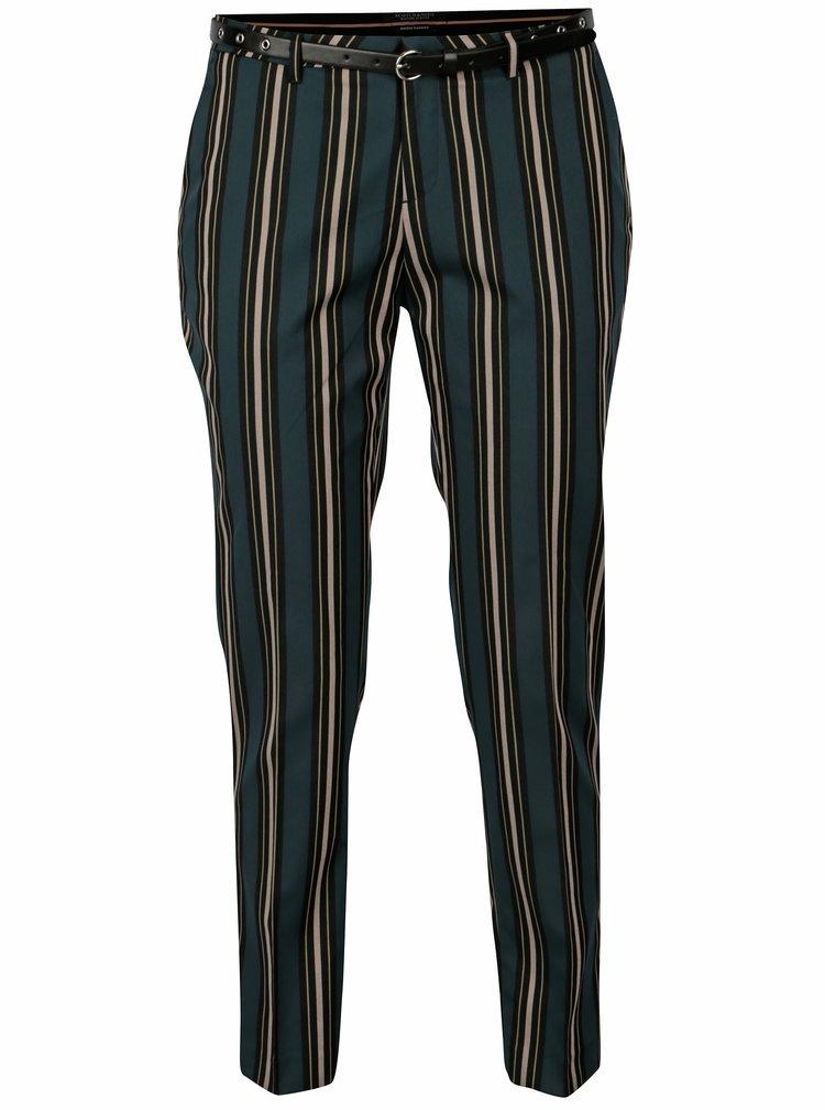 Tmavě zelené kostýmové pruhované zkrácené kalhoty Scotch & Soda