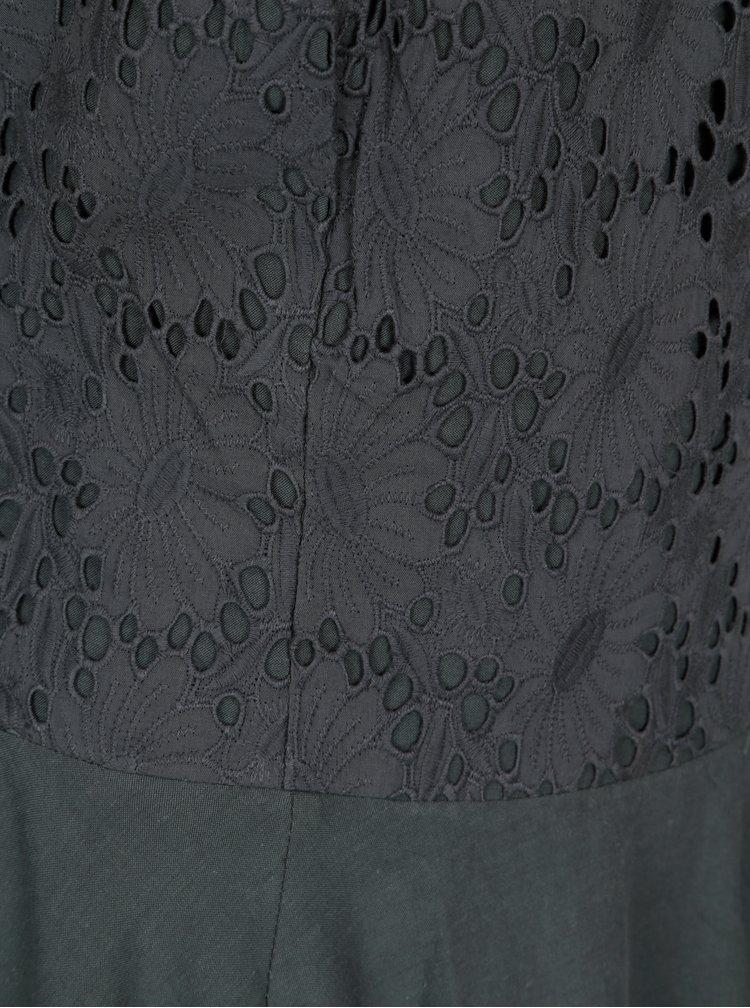 Tmavě šedé kolové šaty s krajkou Blutsgeschwister