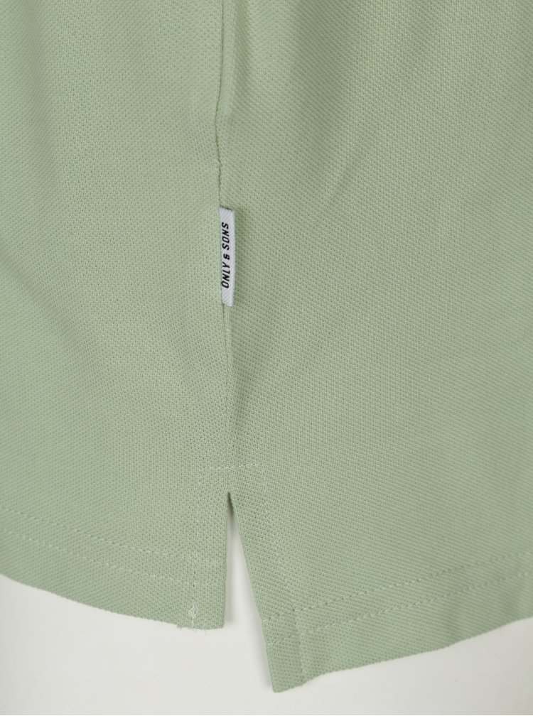 Tricou verde polo cu broderie inghetata ONLY & SONS Delano