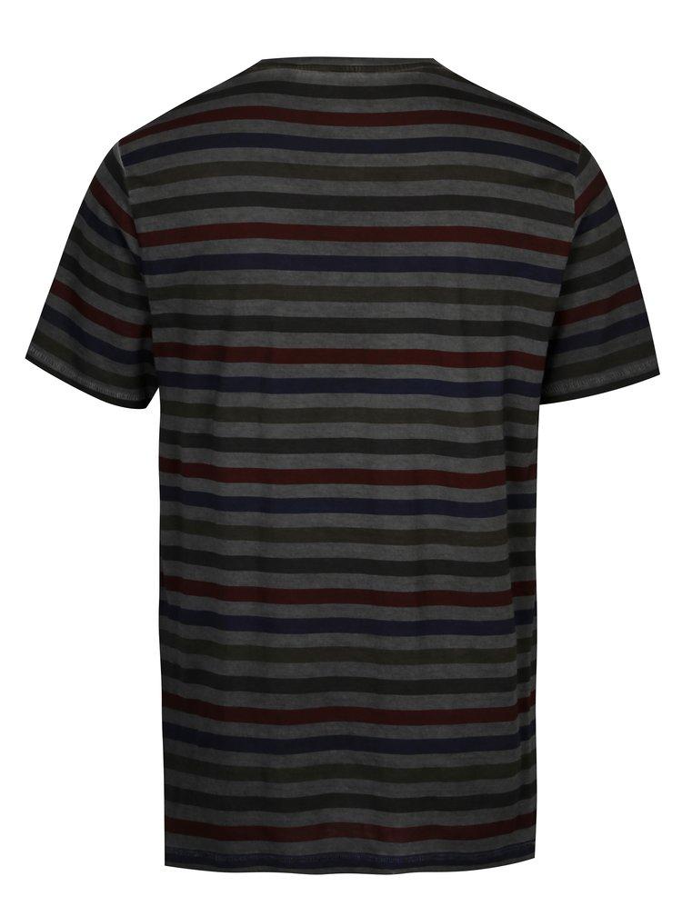 Tmavě šedé pruhované tričko ONLY & SONS Sune