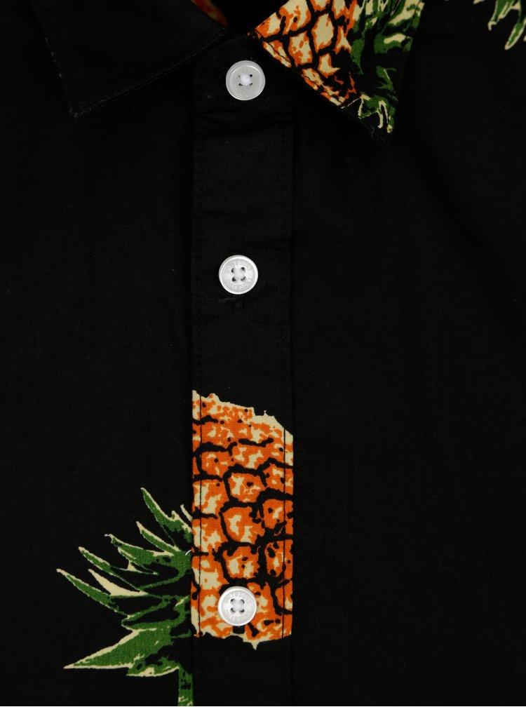 Černá vzorovaná slim košile s krátkým rukávem ONLY & SONS Cool