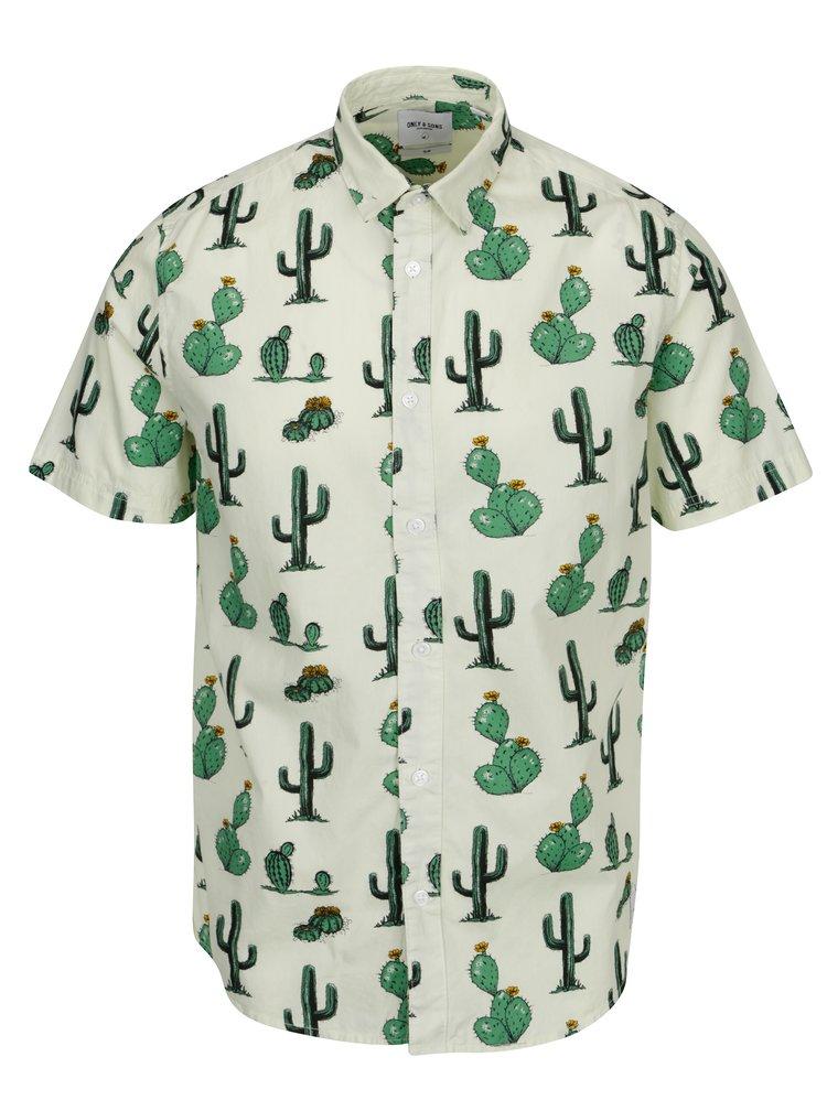Světle zelená vzorovaná slim košile s krátkým rukávem ONLY & SONS Cool