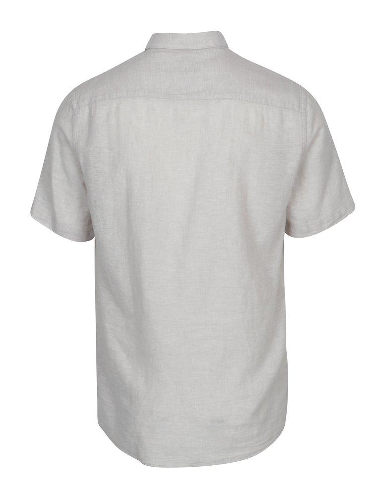 Světle šedá lněná slim košile s krátkým rukávem ONLY & SONS Caiden
