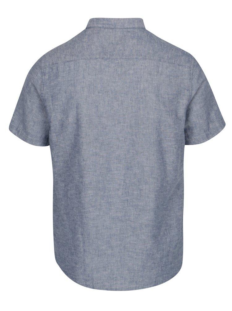 Modrá lněná slim košile s krátkým rukávem ONLY & SONS Caidenln