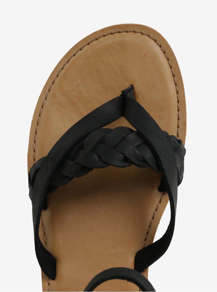 Černé dámské kožené sandály TOMS Lexie