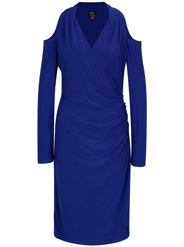 Modré šaty s odhalenými rameny DKNY