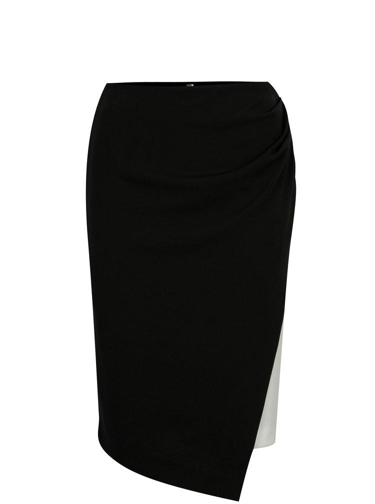 Černo-bílá sukně s překládaným předním dílem DKNY