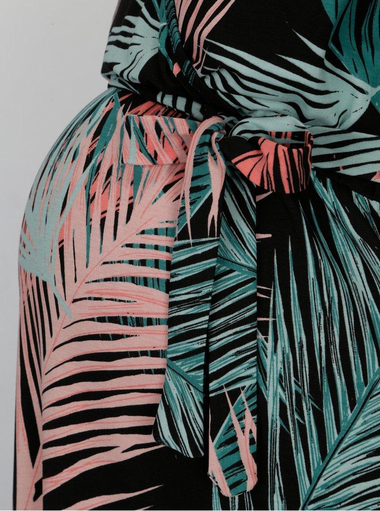 Černé vzorované těhotenské maxišaty Mama.licious Palms