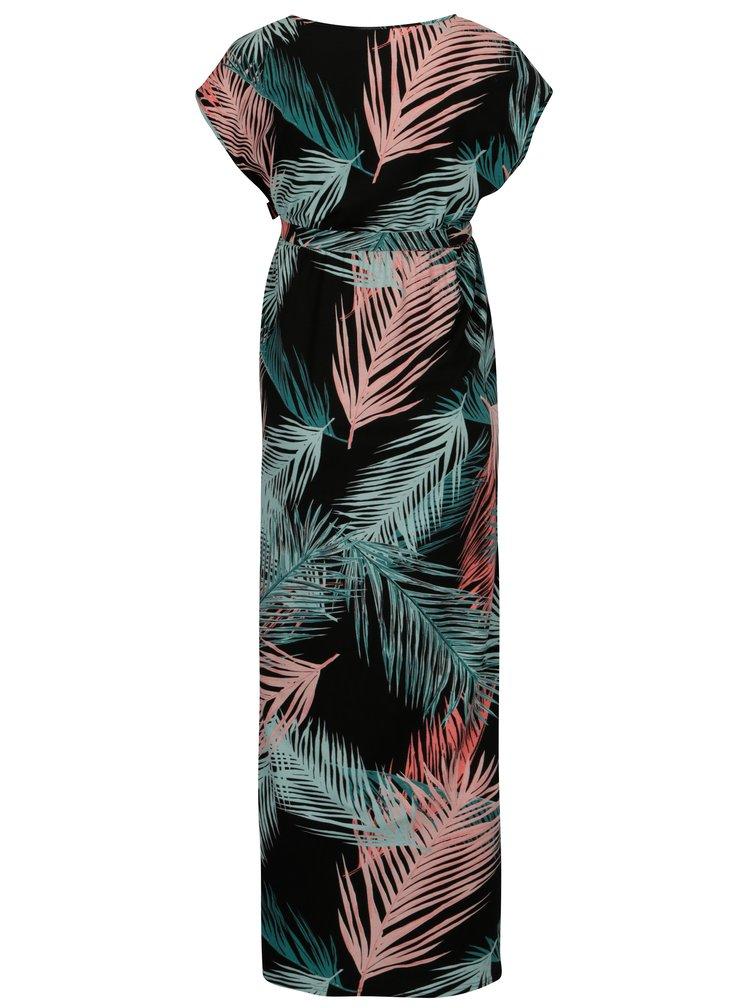 Čierne vzorované tehotenské maxišaty Mama.licious Palms