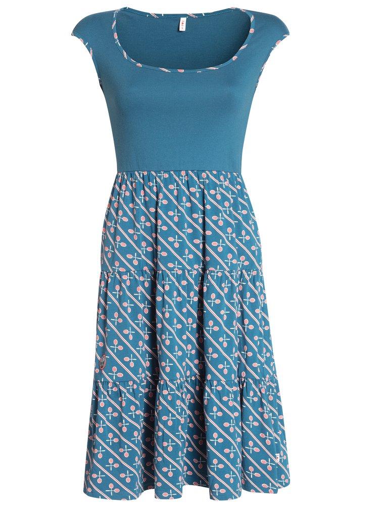 Petrolejové šaty s motivem tenisových raket Blutsgeschwister