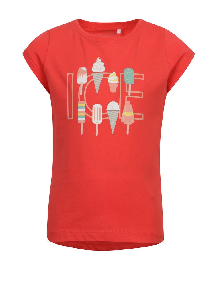 Červené holčičí tričko s potiskem zmrzliny name it Veen