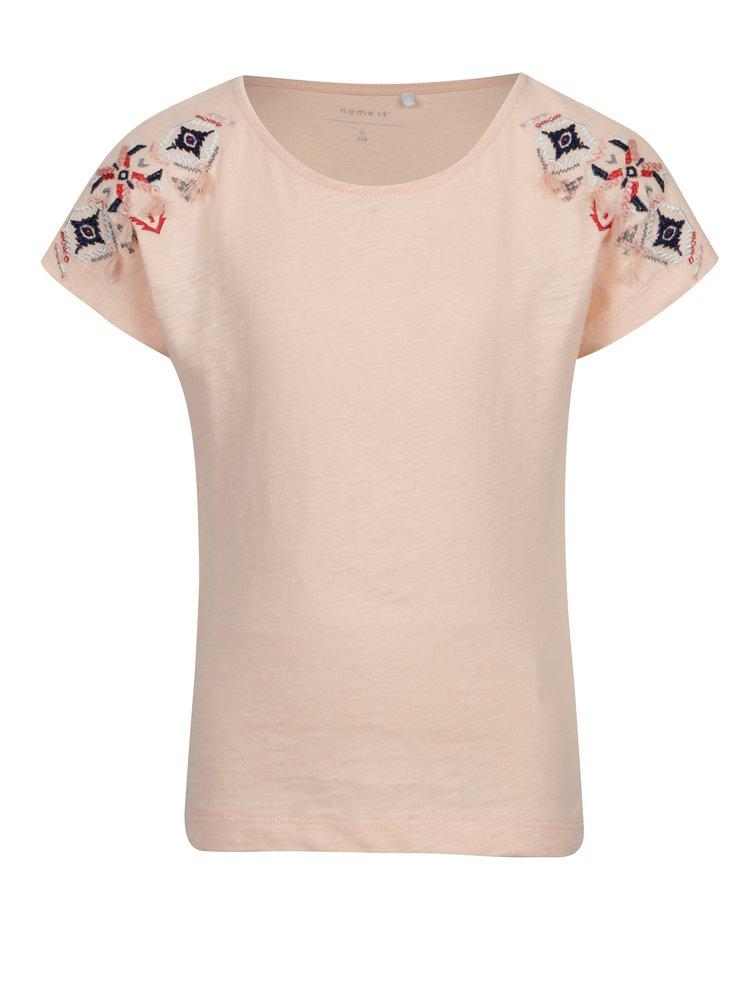 Světle růžové holčičí tričko s výšivkou name it Karla
