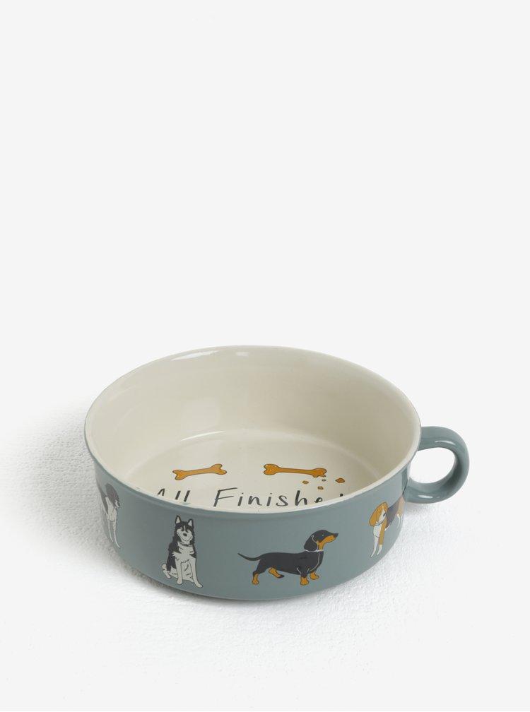 Bol ceramic gri cu toarta si print catei - CGB