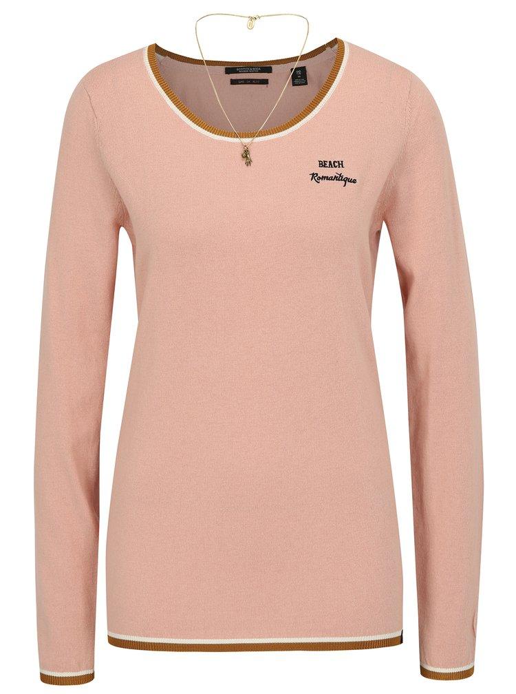 Růžový svetr s výšivkou a řetízkem ve zlaté barvě Scotch & Soda