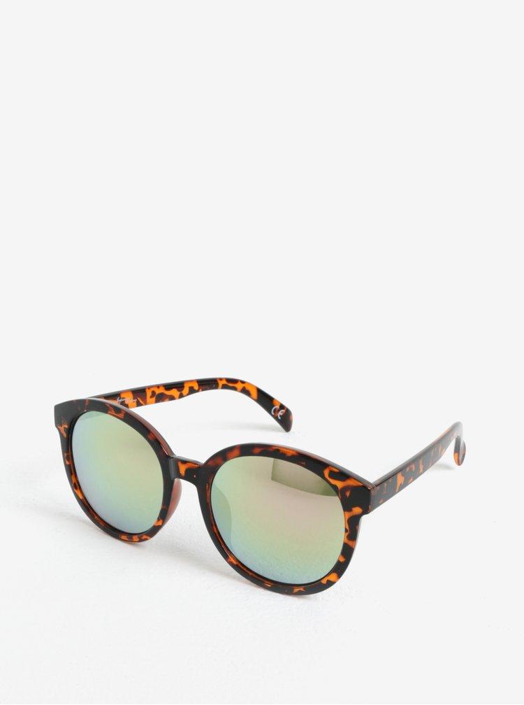 Černo-hnědé dámské vzorované kulaté sluneční brýle Jeepers Peepers