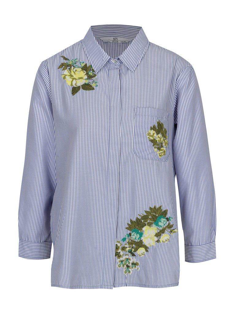Bielo-modrá pruhovaná košeľa s výšivkou SH Licogna