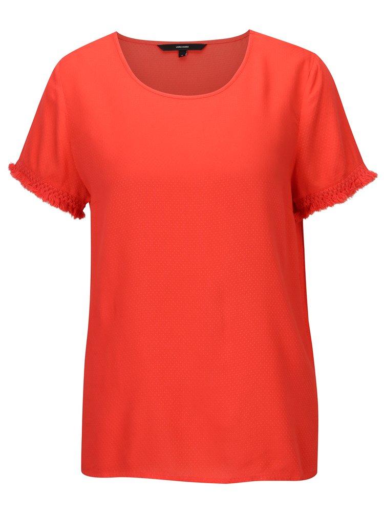 Tricou rosu cu model discret si franjuri - VERO MODA Mynte