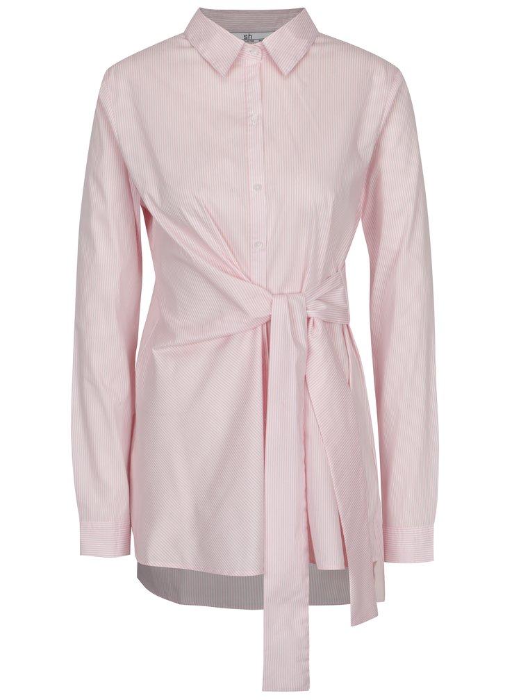 Bílo-růžová pruhovaná prodloužená košile s výšivkou SH Licogna