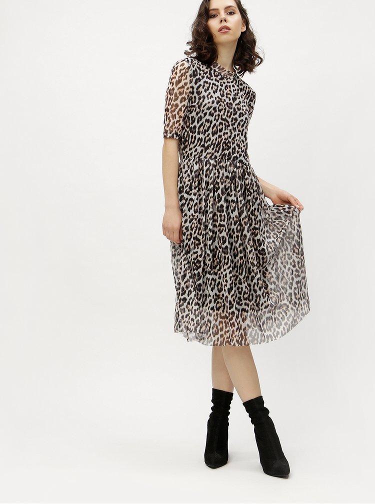 Černo-šedé leopardí šaty VERO MODA Tina