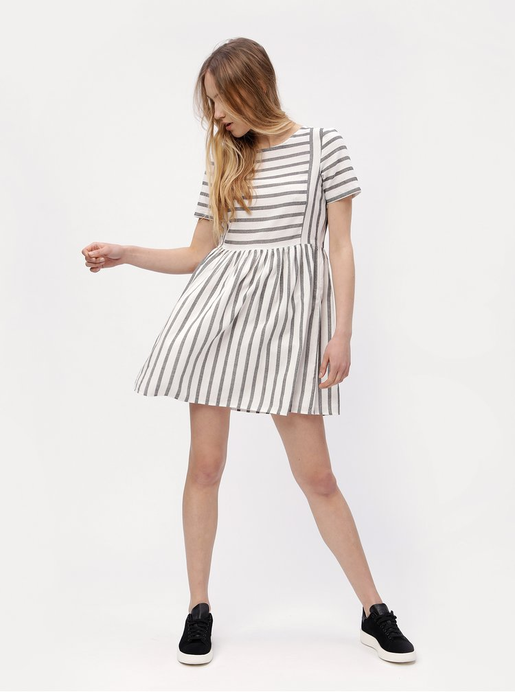 Šedo-bílé pruhované šaty VERO MODA Sunny