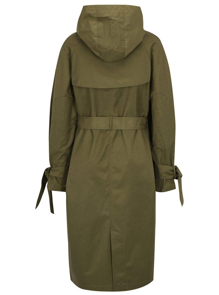 Khaki dlouhá bunda s páskem a kapucí Scotch & Soda
