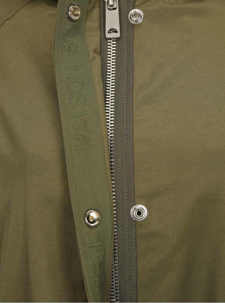 Khaki lehký kabát s páskem a kapucí Scotch & Soda