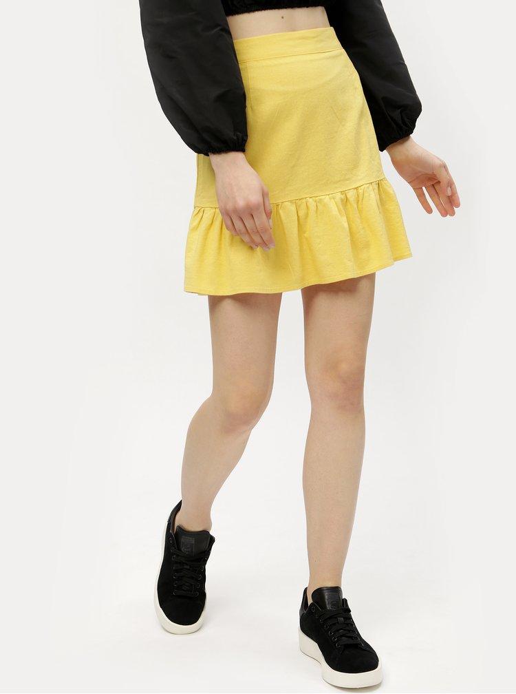 Žlutá lněná sukně VERO MODA Asta