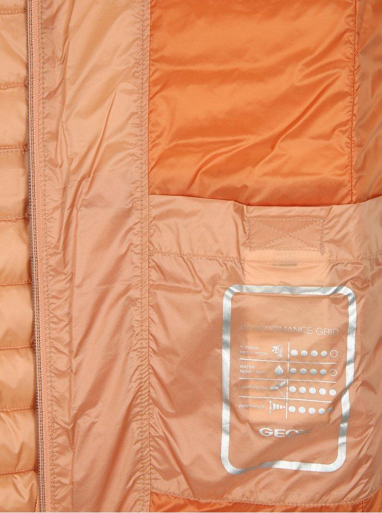 Oranžová dámská péřová vesta se stahováním v pase Geox