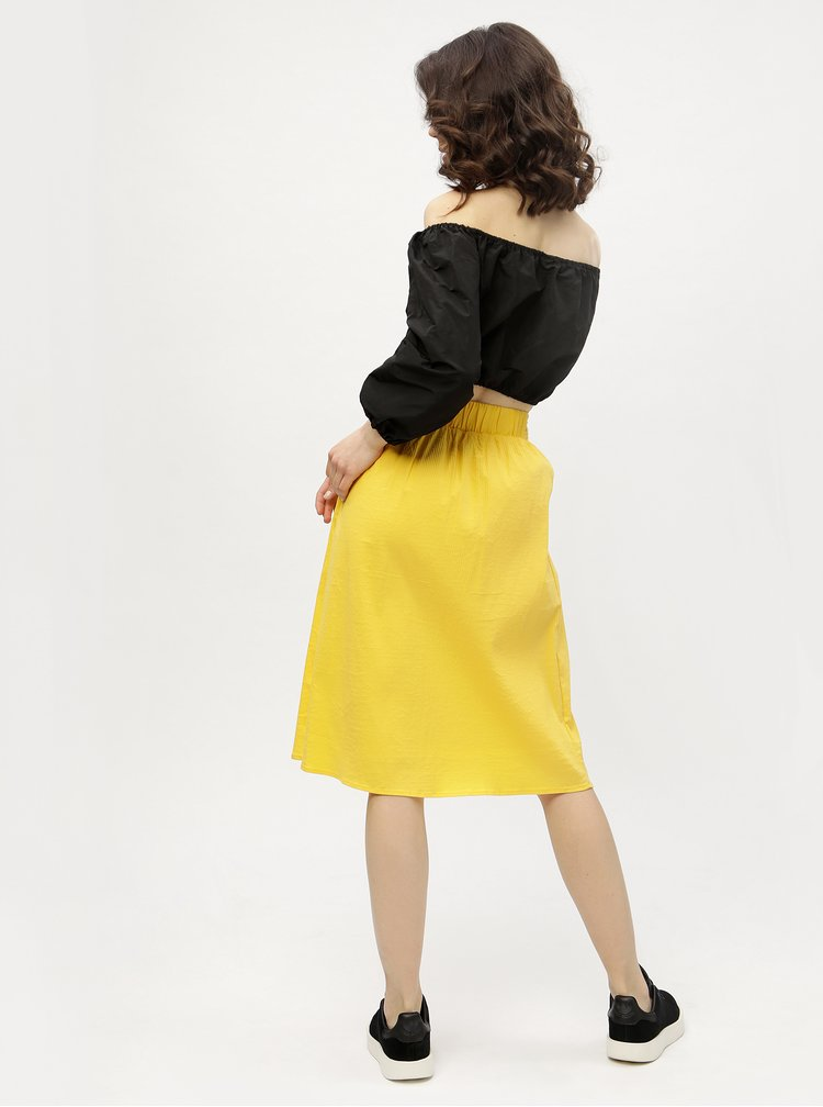 Žlutá žebrovaná sukně VERO MODA Sia