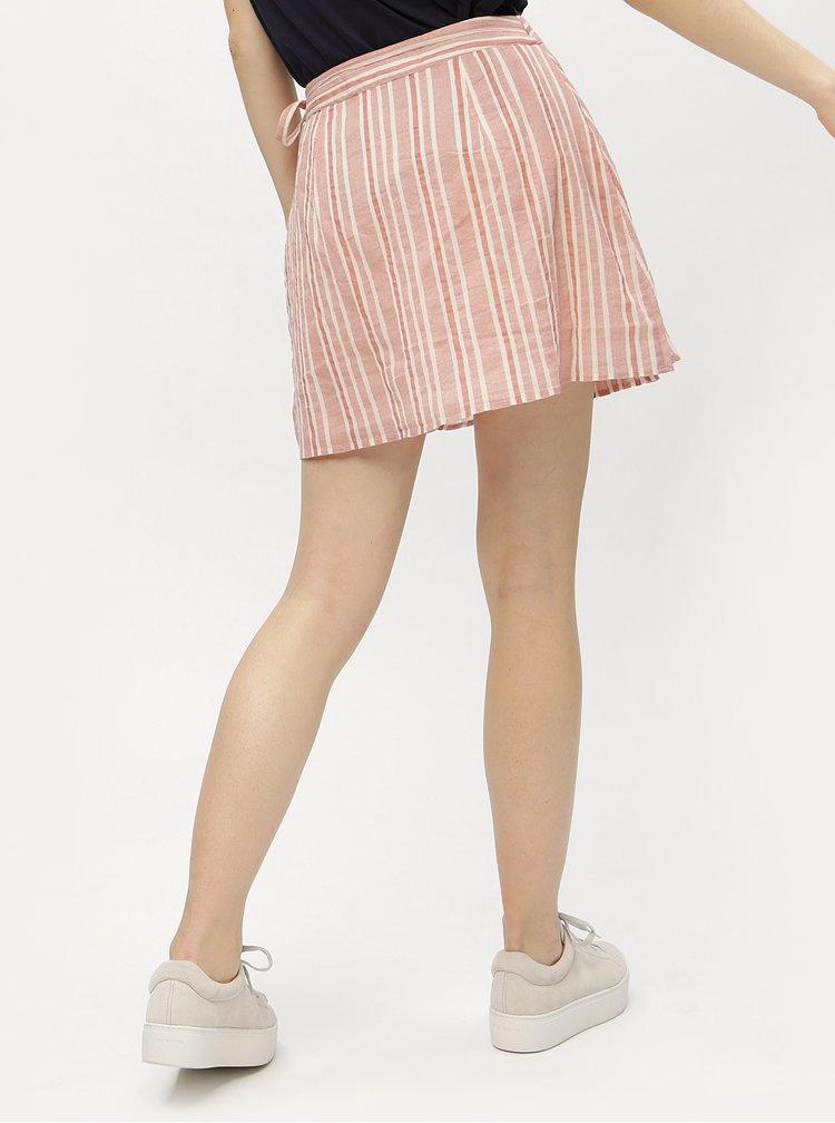 Fusta scurta petrecuta cu dungi roz prafuit & crem - VERO MODA Summer