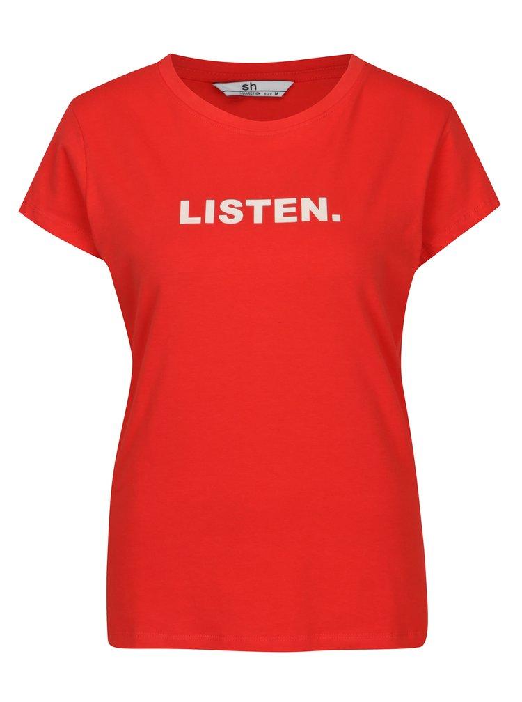 Červené tričko s potiskem a krátkým rukávem SH Licogna