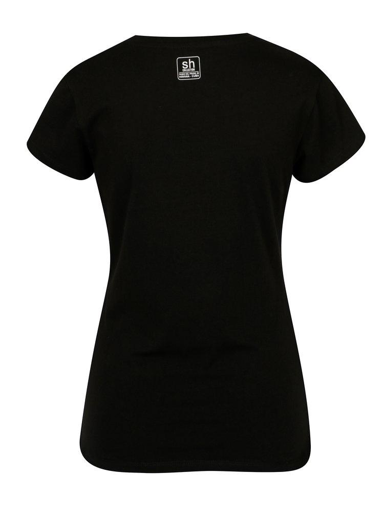 Černé tričko s potiskem a  krátkým rukávem SH Licogna