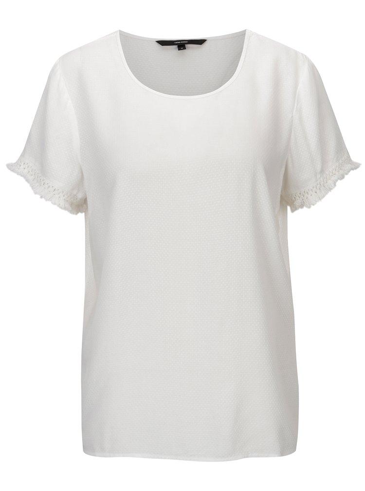 Bílé tričko s třásněmi VERO MODA Mynte