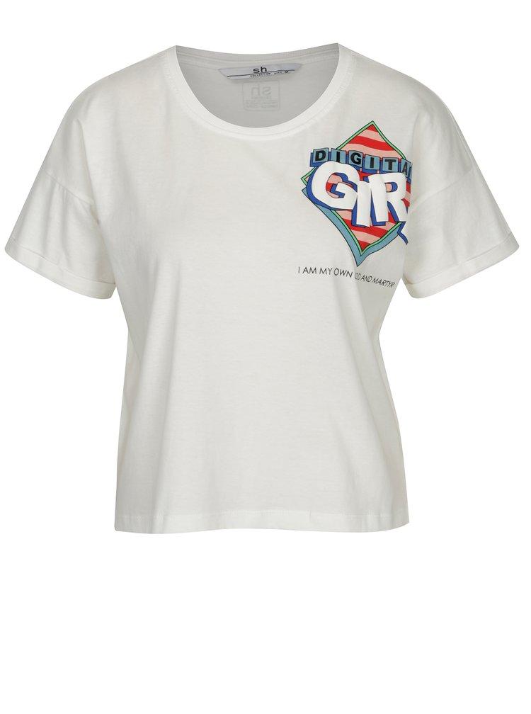 Bílé zkrácené tričko s potiskem SH Colniza